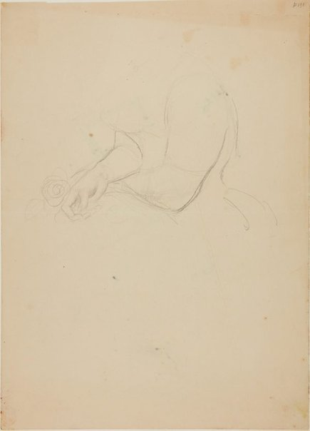 An image of recto: Arms and hands, for portrait of Margaret Olley verso: (sketch) by William Dobell
