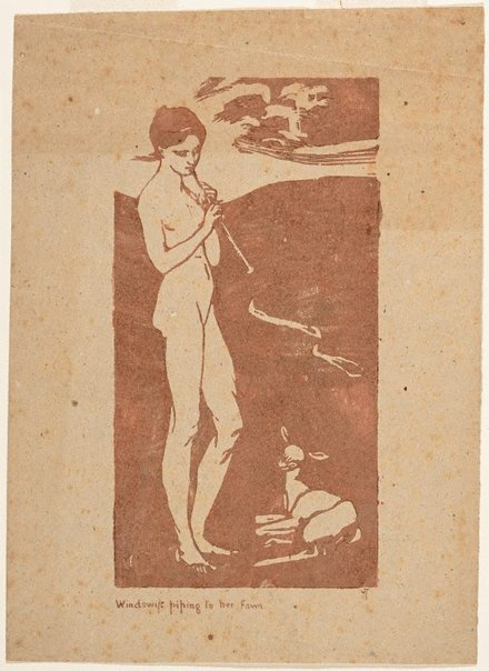 An image of Windswift piping to her faun by Violet Teague