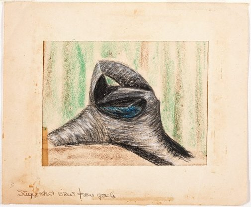 An image of Suggested view from porch (Study for Bird bath) by Margel Hinder