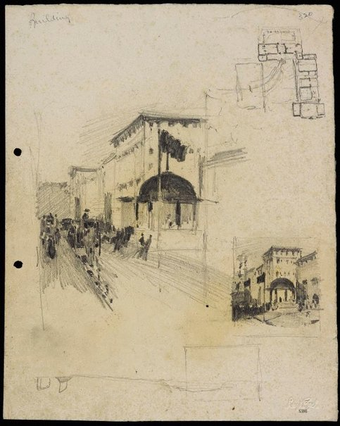 An image of recto: The Recruiting Booth, Martin Place, Sydney verso: House in front of St Andrews Cathedral, Recruiting Booth and Two sketches by Lloyd Rees
