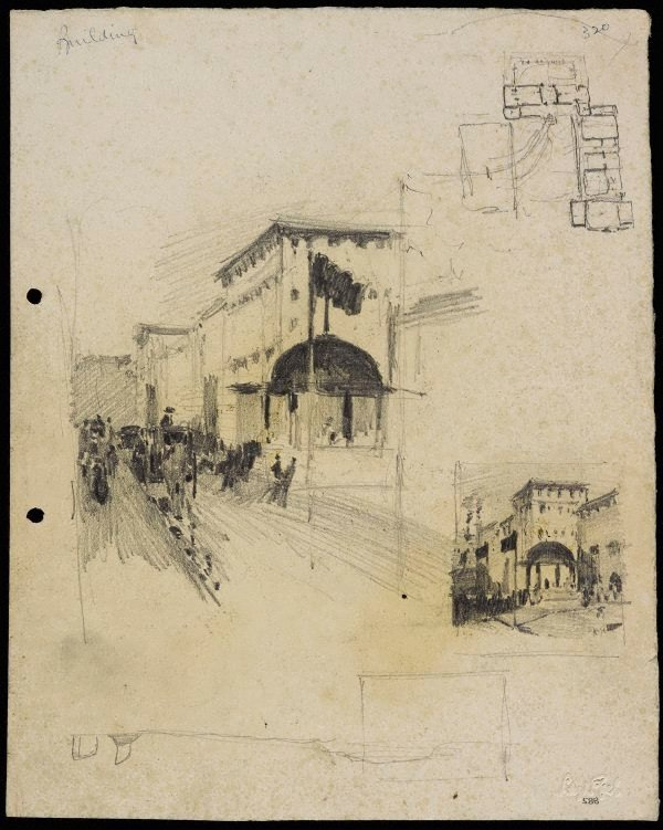 An image of recto: The Recruiting Booth, Martin Place, Sydney verso: House in front of St Andrews Cathedral, Recruiting Booth and Two sketches