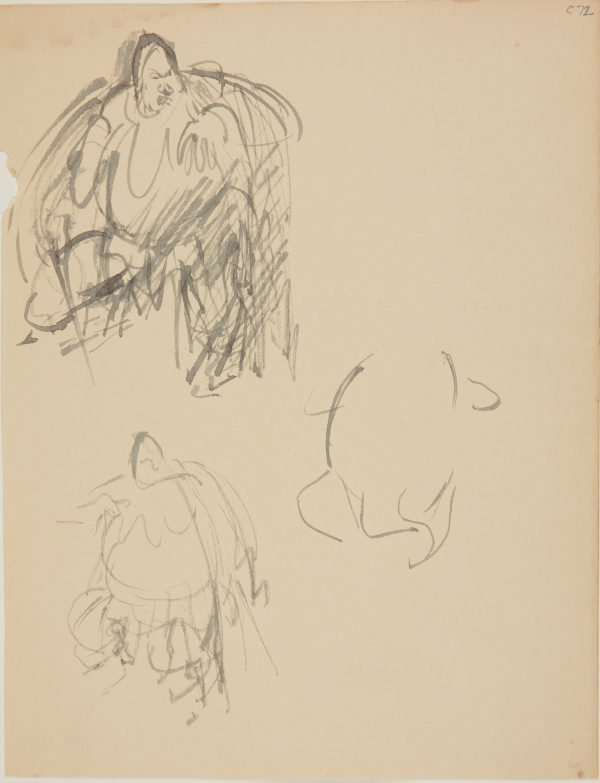 An image of (Figure studies of fat man with sword) (Early Sydney period)