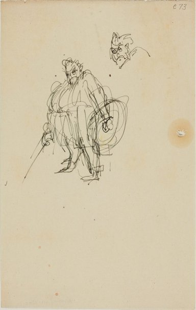 An image of (Figure study of fat man with armour) (Early Sydney period) by William Dobell