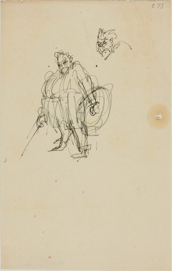 An image of (Figure study of fat man with armour) (Early Sydney period)
