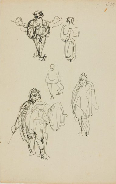 An image of (Figure studies of fat man with armour) (Early Sydney period) by William Dobell