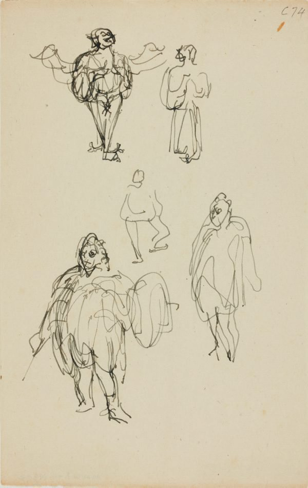An image of (Figure studies of fat man with armour) (Early Sydney period)