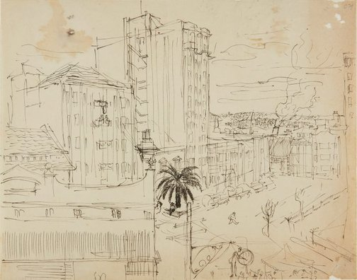 An image of (City view) (Early Sydney period) by William Dobell