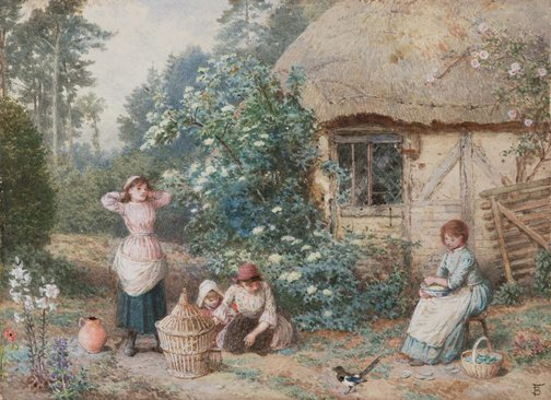 An image of The magpie by Myles Birket Foster