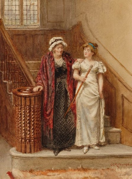 An image of A Study - (Two women in eighteenth century costume) by George Kilburne