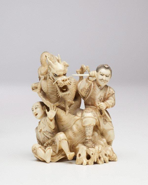 An image of Figure of Samurai fighting two-headed dragon (okimono)