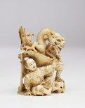 Alternate image of Figure of Samurai fighting two-headed dragon (okimono) by Masakazu