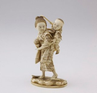 AGNSW collection Kômin Figure of a young woman carrying a baby (okimono) 19th century