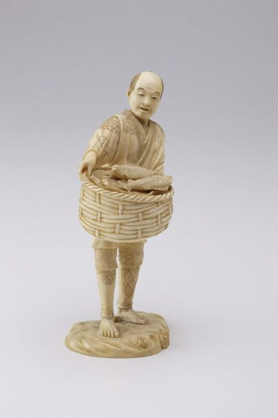 An image of Figure of a fish seller (okimono) by