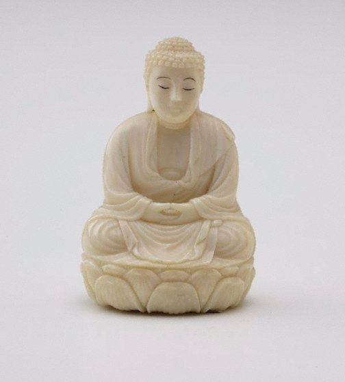 An image of Figure of Buddha sitting cross legged on oval lotus throne (okimono) by Unknown