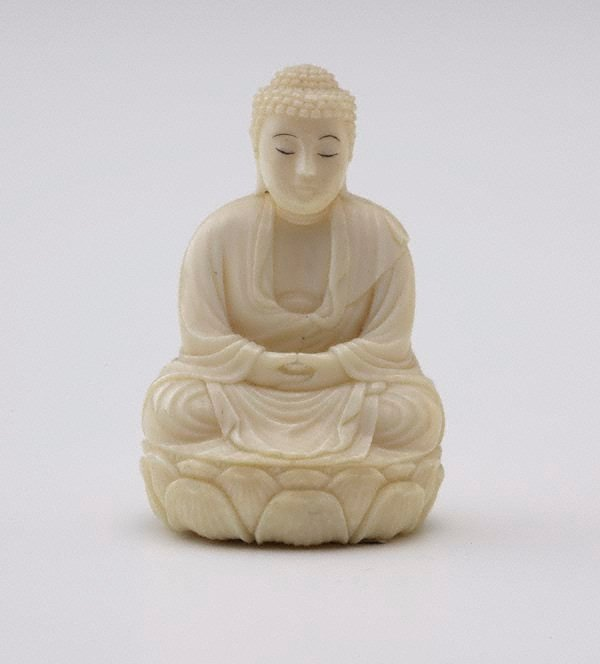 An image of Figure of Buddha sitting cross legged on oval lotus throne (okimono)