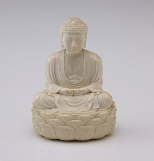 An image of Figure of Buddha sitting cross legged on oval lotus throne (okimono) by