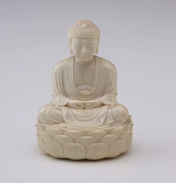 An image of Figure of Buddha sitting cross legged on oval lotus throne (okimono)
