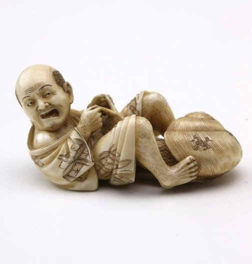 An image of Netsuke in the form of a man with a snail by Seiko