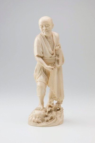 An image of Figure of a fisherman (okimono) by Unknown