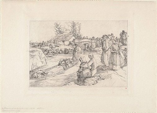 An image of A burial in the marshes by Auguste-Louis Lepère