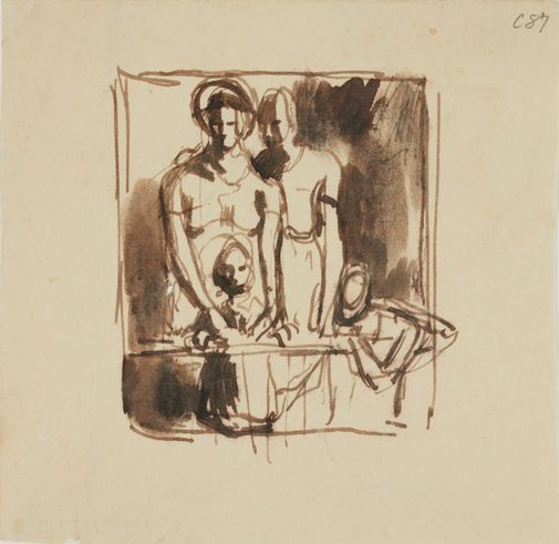An image of (Group of figures) (Early Sydney period) by William Dobell