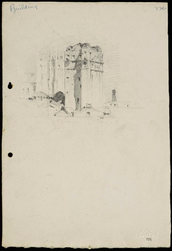 An image of recto: City building (St Andrews Cathedral to the left) verso:  Figure sketches