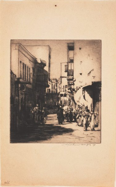 An image of A sunny street, Cairo by Mortimer L Menpes