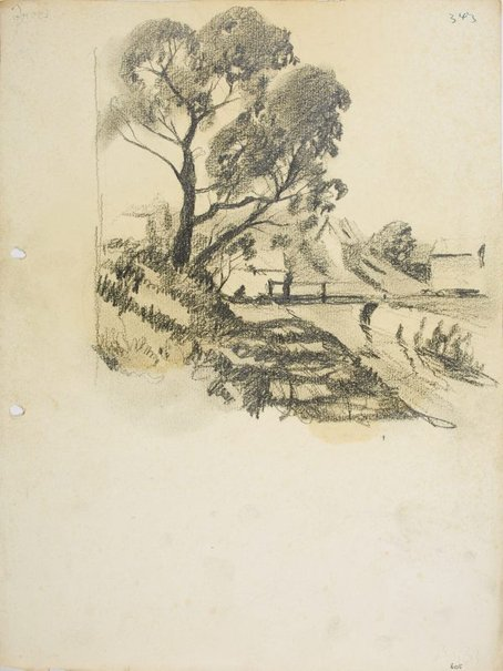 An image of Trees on a bank and footbridge by Lloyd Rees