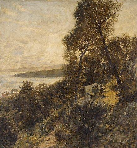 An image of Ligurian hillside by Henry Herbert La Thangue