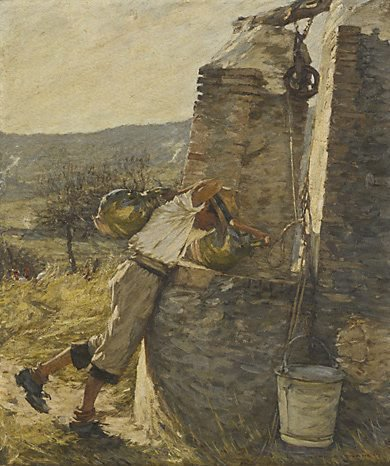 An image of Boy filling water jars at well by Henry Herbert La Thangue