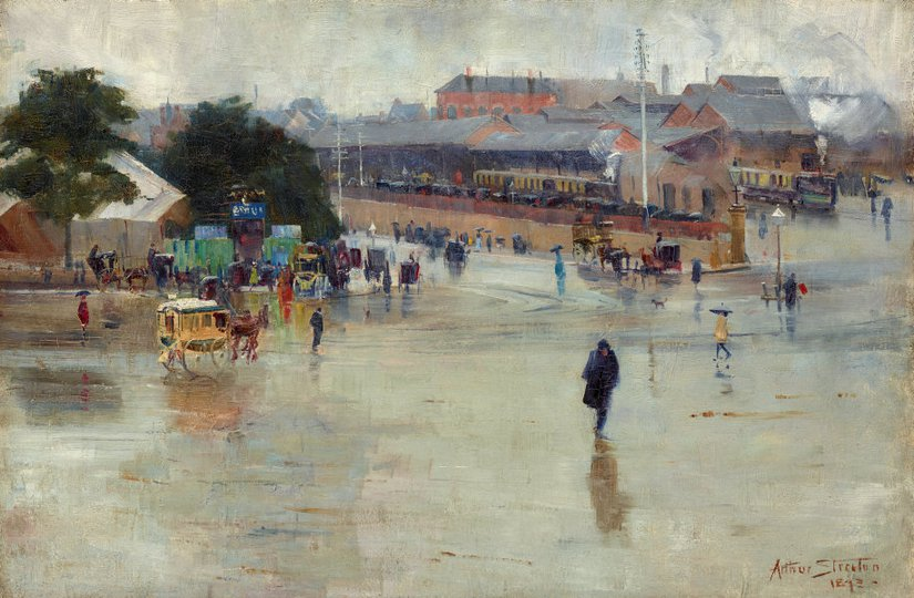 AGNSW collection Arthur Streeton The railway station, Redfern (1893) 7209