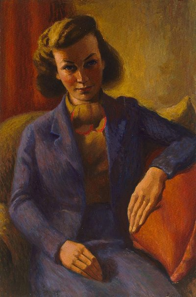 An image of Judith in blue by Roland Wakelin