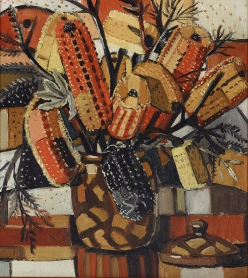 An image of The brown pot by Margaret Preston
