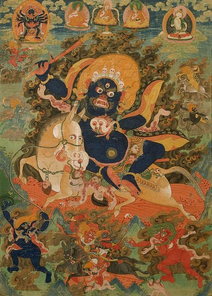 An image of Penden Lhamo (Shri devi) and her retinue by