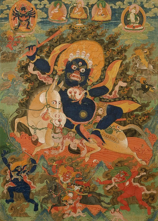 An image of Penden Lhamo (Shri devi) and her retinue