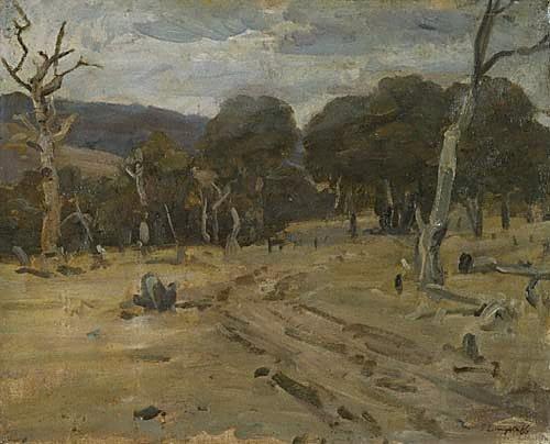 An image of Sombre landscape by John Longstaff