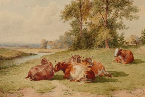 An image of Landscape with cattle by Thomas Sidney Cooper
