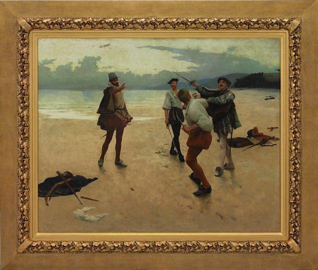 AGNSW collection Frank William Bourdillon On Bideford Sands (1889) 726