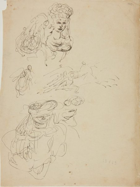 An image of (Studies of two women) (Early Sydney period) by William Dobell