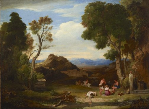 An image of An antique rural scene by Sir Charles Lock Eastlake