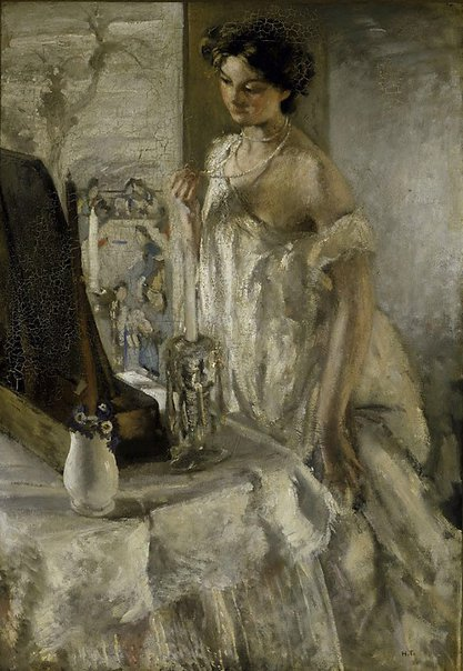 An image of The pearl necklace by Henry Tonks