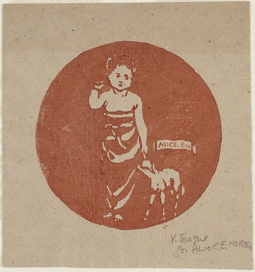 An image of Child and lamb by Violet Teague