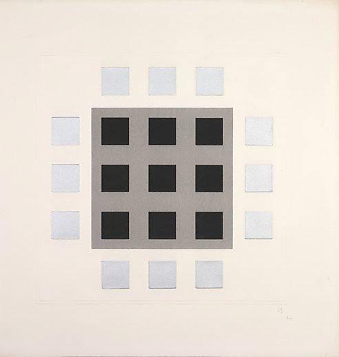 An image of (Grey, black squares) by Jesus-Rafael Soto