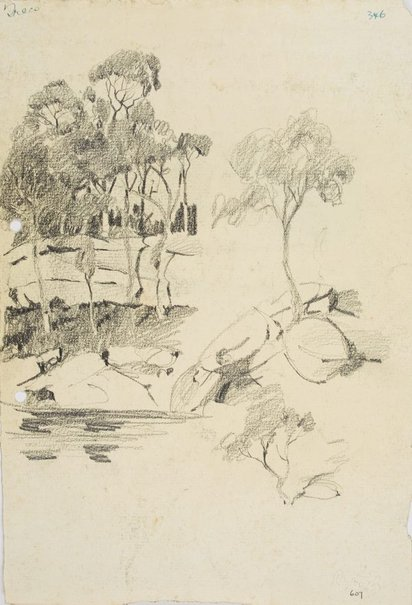 An image of recto: Trees on bank verso: Harbour foreshore by Lloyd Rees