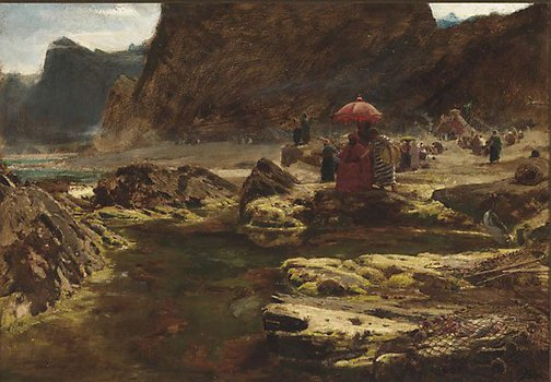 An image of The Sultan and his camp by the enchanted lake by Albert Goodwin