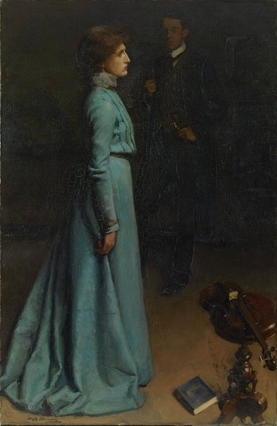 An image of The lady in blue (Mr and Mrs J S MacDonald) by Hugh Ramsay