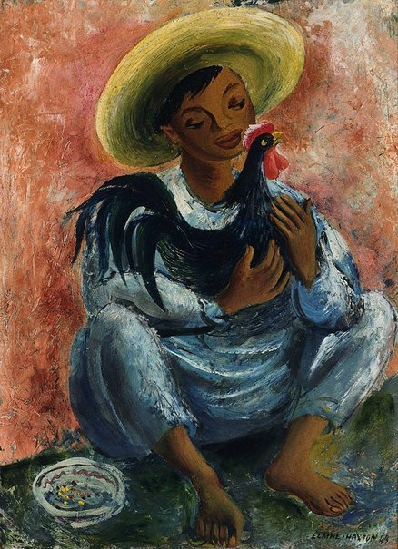 An image of Boy with rooster by Elaine Haxton