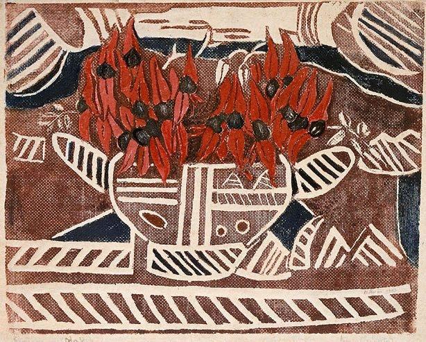 An image of Aboriginal design, with Sturt's Pea