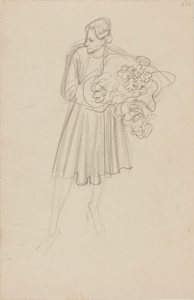 An image of (Woman with flowers) (Early Sydney period) by William Dobell