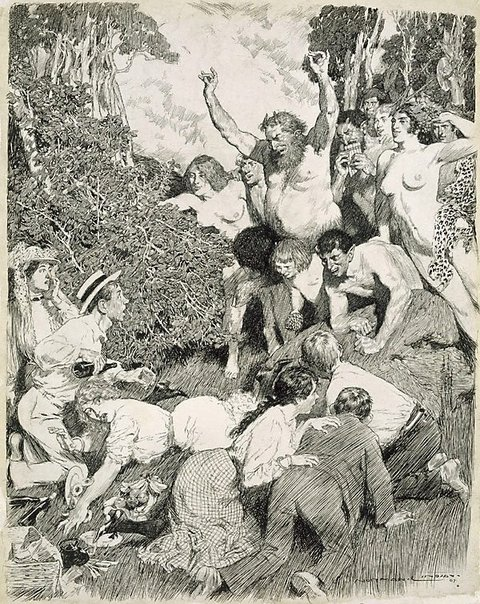 An image of The picnic god by Norman Lindsay